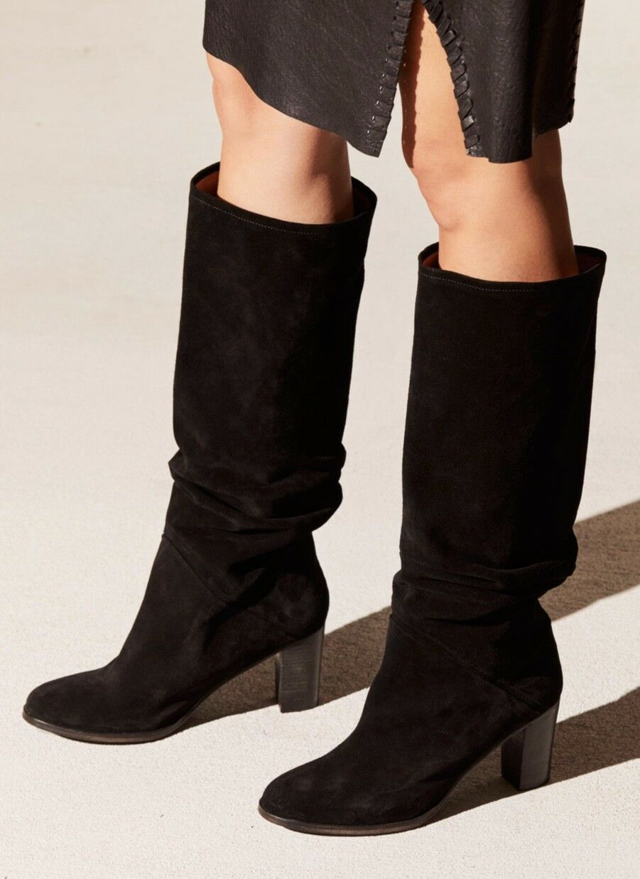 Free People Tall Boots suede black Pre Ruched Slouchy Pull On 39 / 8.5- 9 NIB
