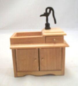 Wet Sink w/ Pump Oak D2678A miniature dollhouse furniture  1pc wood 1/12 scale