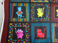 Loralie Fabric Cool Cats Panel Colorful Framed Cats Stripe Cotton Sew Quilt