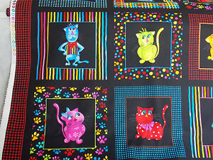 Loralie-Cat-Panel-Cool-Cats-fabric-colorful-framed-black-dots-stripe-cotton