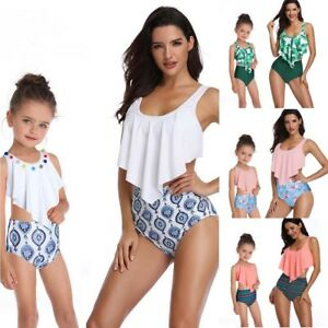 US Family Matching Swimsuit Mother Daughter Kids Baby Women Girl Bikini Swimwear