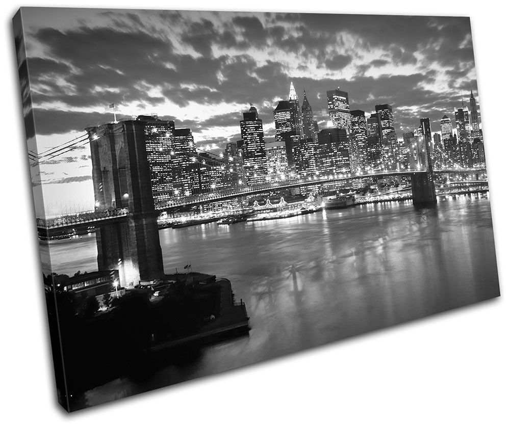 NYC Brooklyn Bridge City SINGLE Leinwand Wand Kunst Bild drucken
