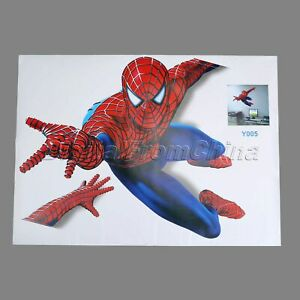 Details About 3d Spiderman Wall Sticker Kids Bedroom Home Decor Decal Pvc Mural Art Wallpaper
