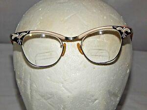 786650b382a Vintage US Optical Cat Eye Glasses 5 1 2 Rhinestones Cateye 12K GF ...