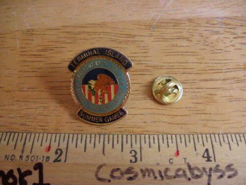 Los Angeles 1984 Summer Games Terminal Island DOJ 1980s pin tie tac vintage