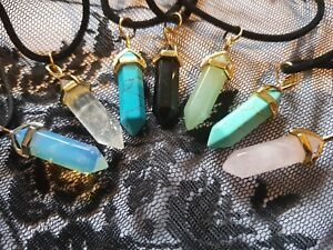 "Reiki Chakra Pendant + Velvet Cord 18"" Scrying Stone Necklace"