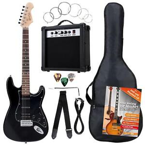 PACK-GUITARE-ELECTRIQUE-SET-AMPLIFICATEUR-SAC-CABLE-SANGLE-CORDES-PLECTRES-NOIR