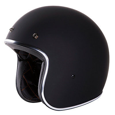 IV2 Retro 3/4 Style Open Face Solid Black/Matte Finish Motorcycle Helmet [DOT]