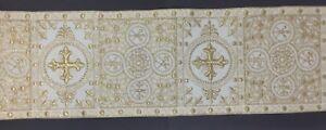Orphrey-Vintage-Luz-Oro-Cojos-Encendido-Blanco-Vestment-Banda-15-2cm-Vendido-Por