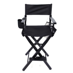 Swell Details About New Directors Chair 30 Inch Canvas Tall Seat Black Wood Folding Hair Stylist Squirreltailoven Fun Painted Chair Ideas Images Squirreltailovenorg