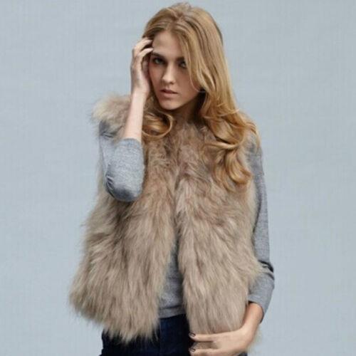 Womens Faux Fur Vest Gilet Sleeveless Waistcoat Winter Jacket Coat Outwear Tops