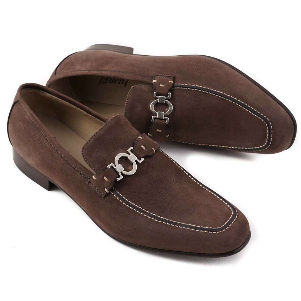 Nib Brioni Us Marron Mat Mocassins Cuir avec Bit Détail Us Brioni 11 Chaussures bb57b5