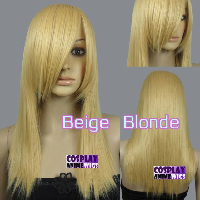 50cm Beige Blonde Heat Styleable Layered Medium Cosplay wigs 71_086