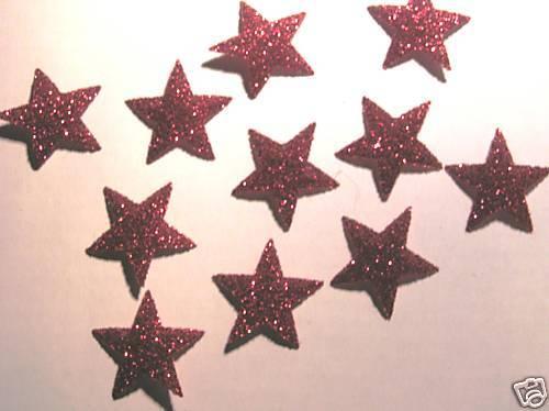 Hotfix iron on transfers 50 medium red glitter stars size 2cm