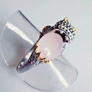 Natürlicher Cabochon Rosenquarz Silber Ring 925 Rhodium Gold 18,4mm 58