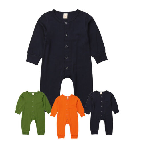 Soft Cotton Baby Boy Girl Unisex Rompers Button Down Jumpsuit Playsuit Outfits