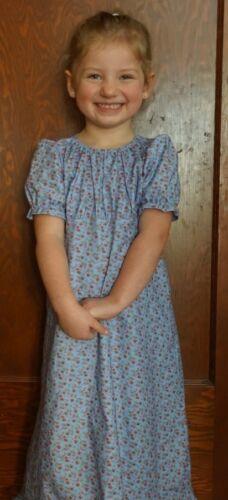 Girl long full Regency cotton floral dress modest CUSTOM pink blue size XS S M L