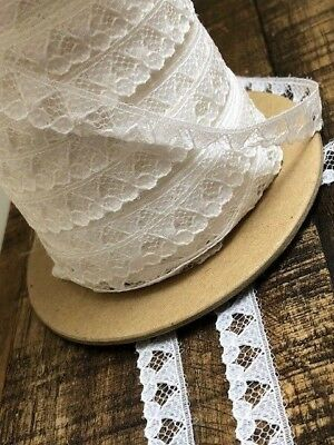 white narrow vintage craft lace trimming