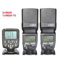 YONGNUO 2PCS YN660 Wireless Flash Speedlite + YN560TX LCD Flash Controller