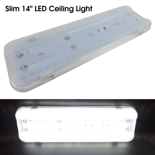 New 14 50 Led 12v Interior Light Fixture White Cargo Camper Rv Trailer Boat