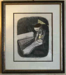 "Vintage Norm Altman American 20th Century Judaica ""Scribe"" Signed Ltd Litho"