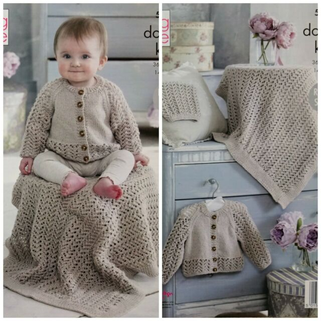 b1212a615abd King Cole Double Knitting Pattern 5239 Cardigan Blanket and Hat for ...