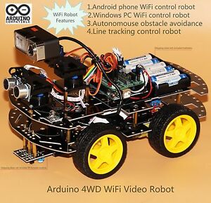 Details about Arduino WiFi Robot with HD Camera , Programmable 4WD Smart  Car kit(Style Three)