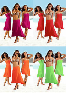 Ladies-Fashion-Cover-Up-Skirt-Dress-Green-Orange-8-10-12-14
