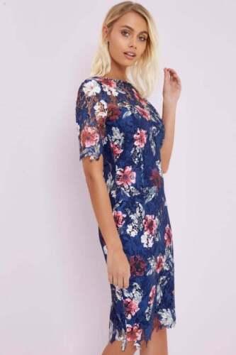 Print Navy Size 10 Little Mistress Floral Crochet Bodycon Dress