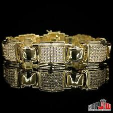 Mens Yellow Gold Plated Simulated Diamond Bracelet Hip Hop Migos Iced Out Box