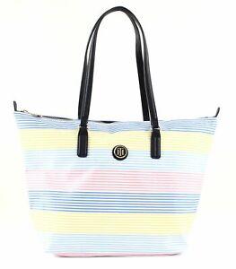 TOMMY-HILFIGER-Poppy-Tote-Handtasche-Tasche-Multi-Stripe-Blau-Weiss