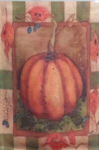 "Crackled Pumpkin Garden Flag by Toland , 11"" x 14.5"" , #544, Fall Autumn"