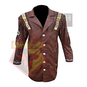 AMERICAN-WESTERN-NATIVE-STYLE-1068-BROWN-FRINGED-BEADED-LEATHER-TASSELED-JACKET
