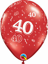 10 Qualatex 11 Helium Quality 40th Birthday Party Balloons Age 40