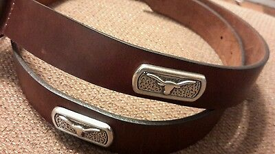 Men/'s Black Leather Belt with University of Texas Longhorns Conchos 44  RLE