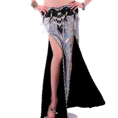 C216 wunderschöner Bauchtanz Kostüm Rock mit 2 Schlitze und glanzendem Stoff