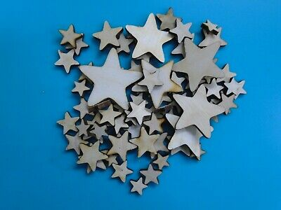 20 g bag assorted sizes cards embellishments kids Wooden Stars Craft Shapes