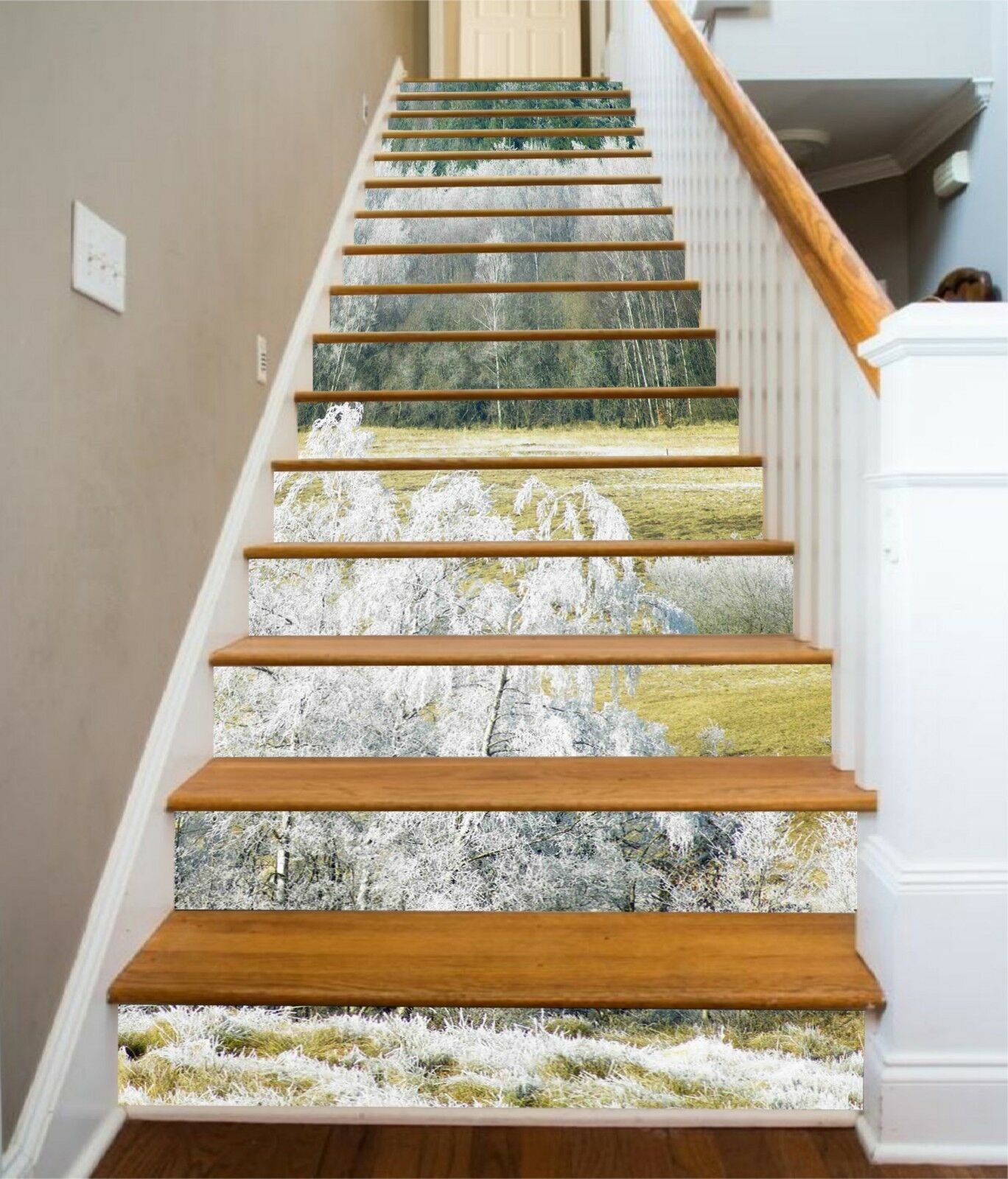 3D silverne Bäume 1 Stair Risers Dekoration Fototapete Vinyl Aufkleber Tapete DE