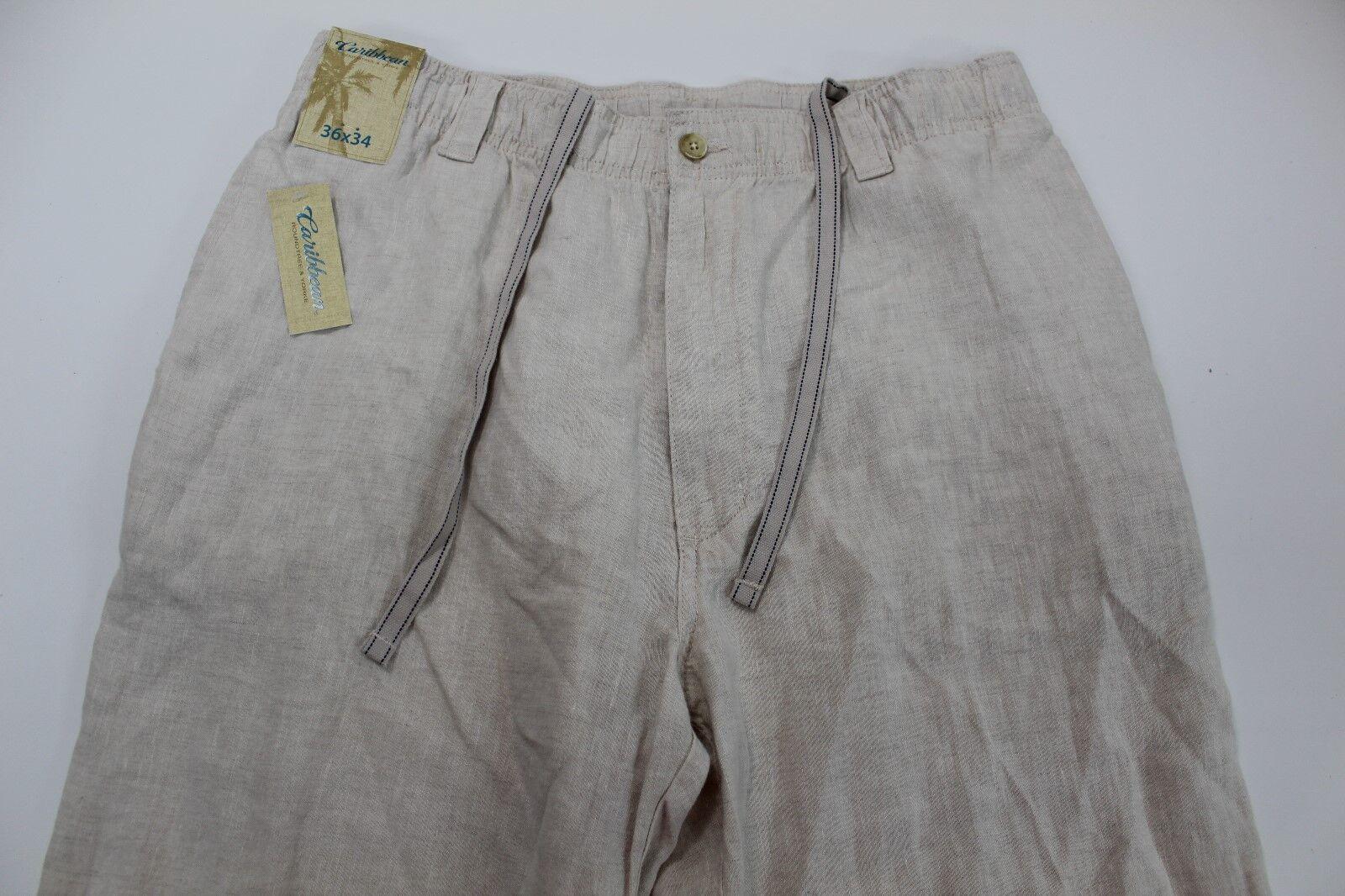 Caribbean Linen Pants Mens 36 x 34 Dressy Front NWT
