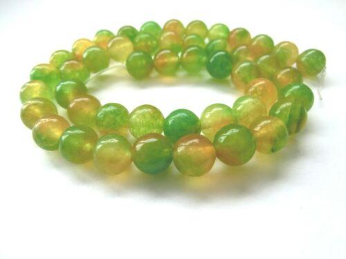 Jade Kugeln Perlen grün gelb 8mm rund Schmuckperlen 1 Strang #12