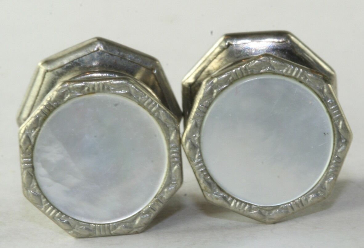 VINTAGE 1920'S MOTHER OF PEARL SNAP LINK BRAND SNAP CUFFLINKS