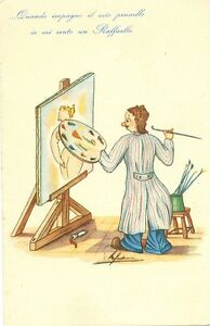 painter at easel io mi sento un raffaello nice old unused comic