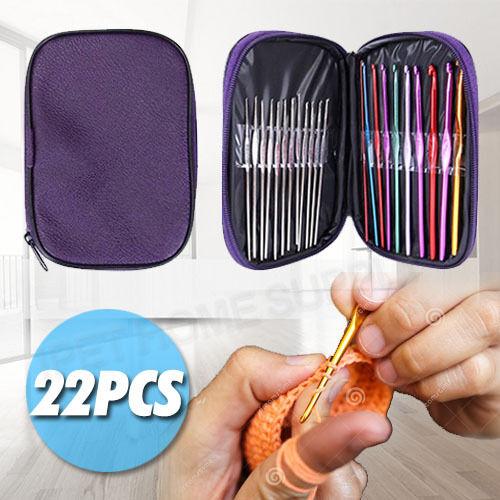 Hand Tool Sets 22pcs Crochet Hook Set Multi-colour Aluminum Crochet Hook Needles Knit Weave Craft Yarn Stitches Diy Craft Knitting Crochet Hook
