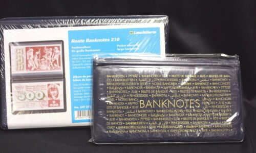 2 Lighthouse LARGE & REGULAR Banknotes Album Currency Money Post Cards Documents