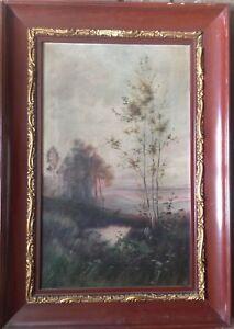 ROMANTIKER-GRUNDERZEIT-UM-1880-RAHMEN-ANTIK-LANDSCHAFT-FEINSTE-MALEREI
