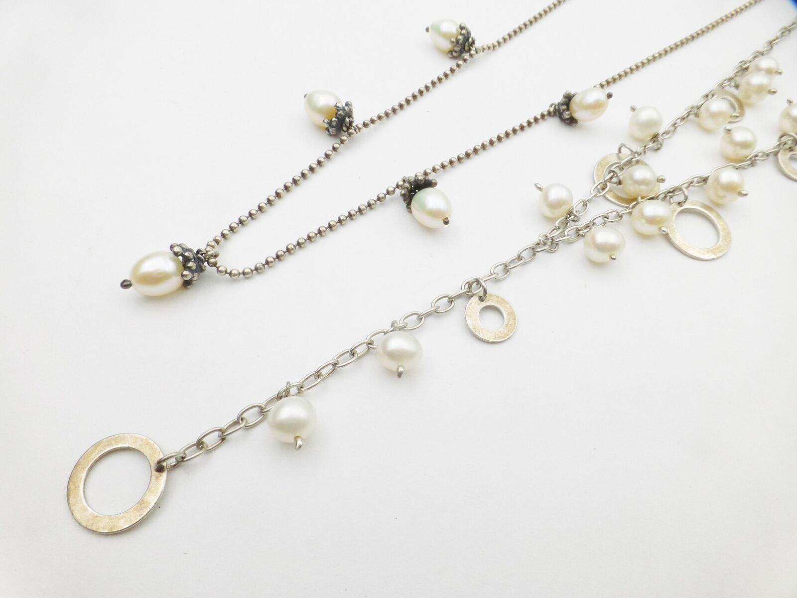 Sterling 2 Lot Cultured Pearl Y Pendant Necklace - image 4