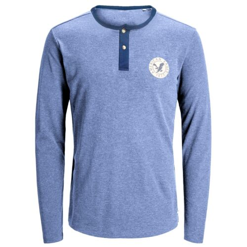 Men/'s American Eagle à manches longues T-shirts long Coton Pull-over Confortable Bouton Tee