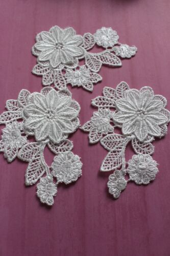 Guipure  Sewing Crafting Off White Embroidered Lace Appliques x 10