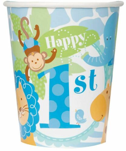 Blue Jungle Safari 1st Birthday Tableware Party Cups Decoration Animal
