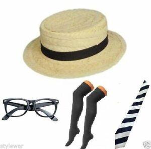 NEW-GIRL-STRAW-BOATER-HAT-SCHOOL-BOOK-WEEK-FANCY-DRESS-BLACK-SOCKS-TIE-HEN-NIGHT